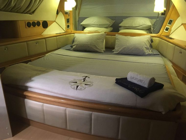 SAGITTARIUS Yacht Charter - Primary Stateroom turned down