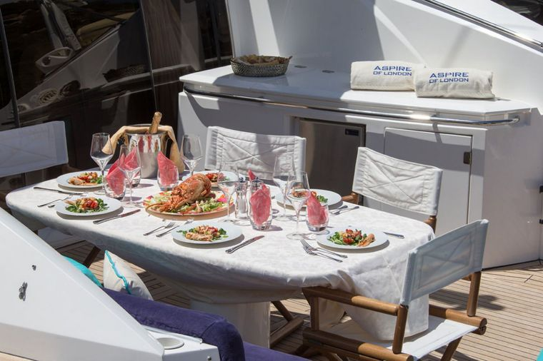 ASPIRE OF LONDON Yacht Charter - lunch table on cockpit
