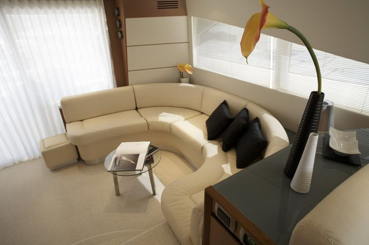 SUSY Yacht Charter - sistership susy has brown sofa