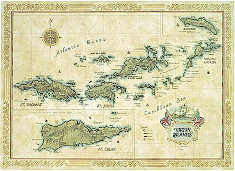 PLAYTIME Yacht Charter - Complementarily BVI and USVI map