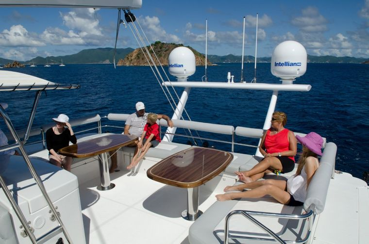 XENIA74 Yacht Charter - Top deck seating and lounge