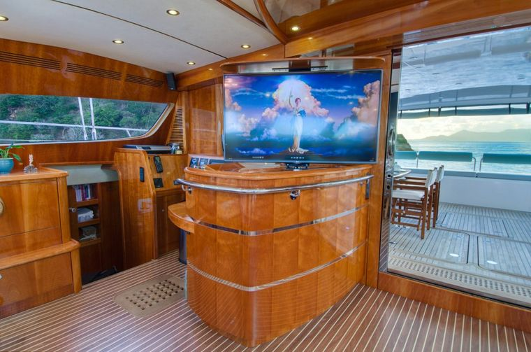 XENIA74 Yacht Charter - Bar, entertainment and view to deck