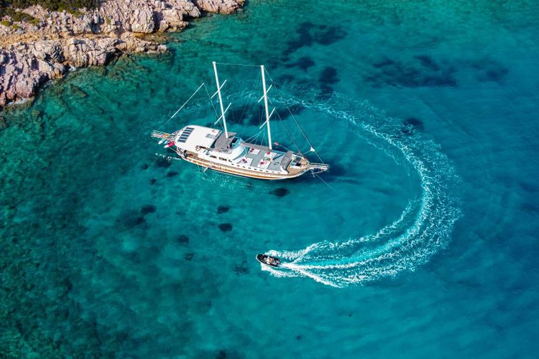 Bodrum Queen Yacht Charter - drone pictures of gulet and dinghy