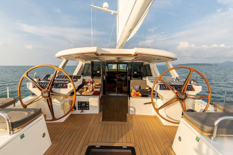 SILVERLINING Yacht Charter - Aft Deck at Night