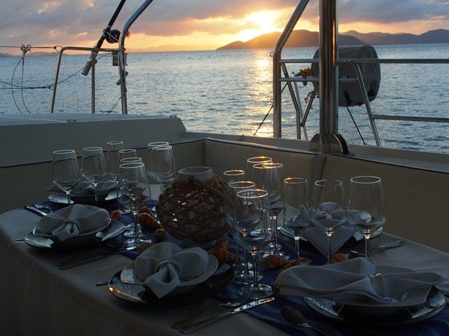 FRENK Yacht Charter - Dining on the aft deck
