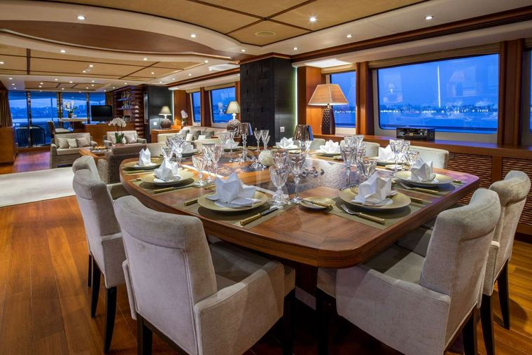SIROCCO Yacht Charter - interior dining area
