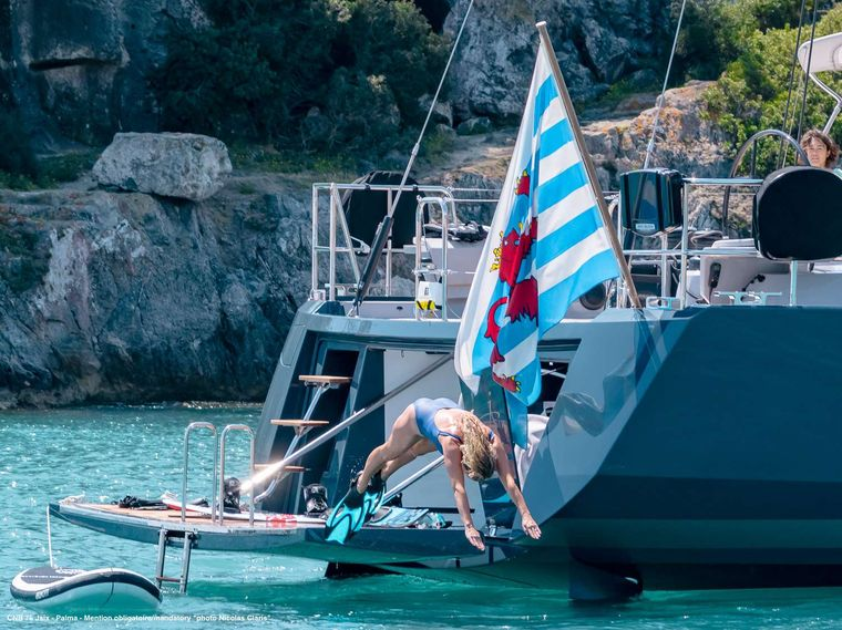 J SIX Yacht Charter - The swimming platform with toys