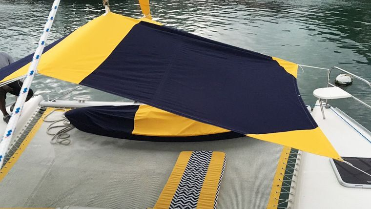 FIREFLY 46 Yacht Charter - The trampolines with bimini sun awning