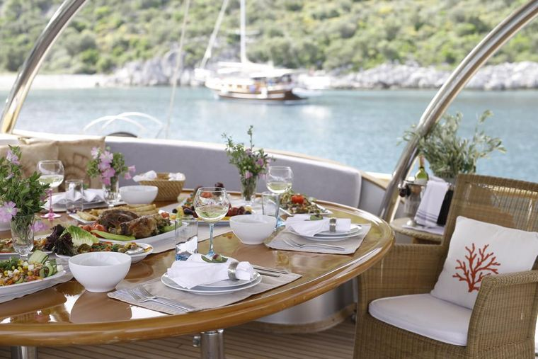 SILVERMOON Yacht Charter - Dining Area at the back