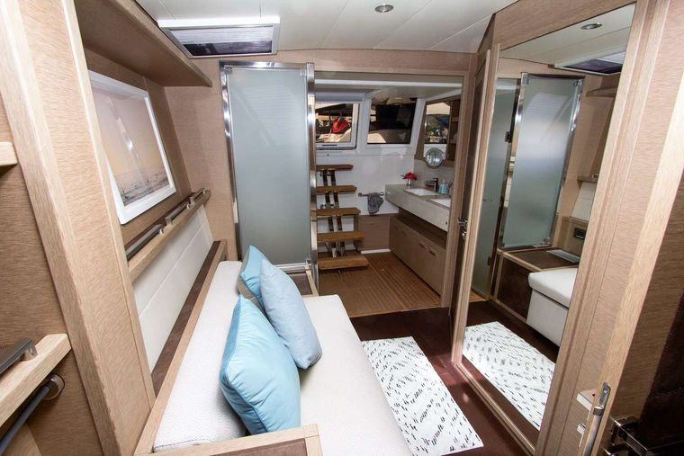 JAN'S FELION Yacht Charter - Master seating area and His & Her Vanity