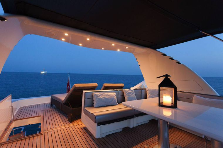WHITEHAVEN Yacht Charter - sundeck in the night