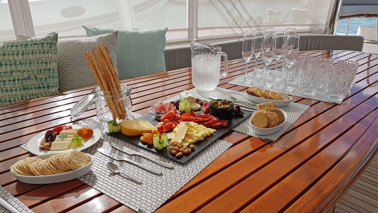 LAYSAN Yacht Charter - Hors d'oeuvres on Aft Deck