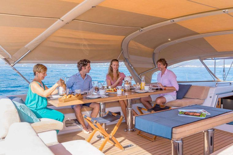 THALIMA Yacht Charter - Breakfast time