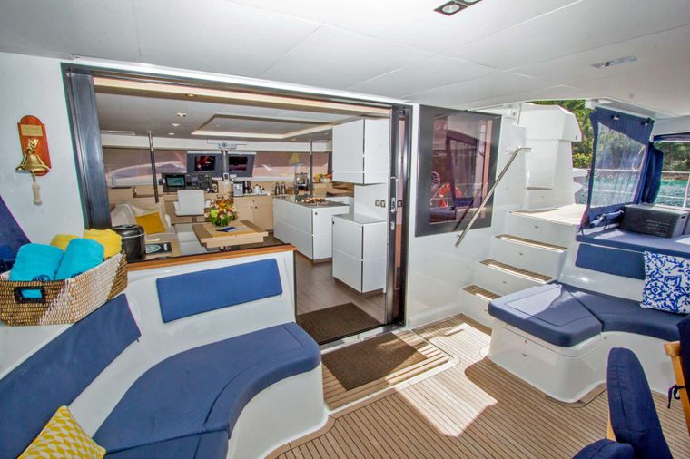 NENNE Yacht Charter - Spacious Aft Deck and Salon Entrance