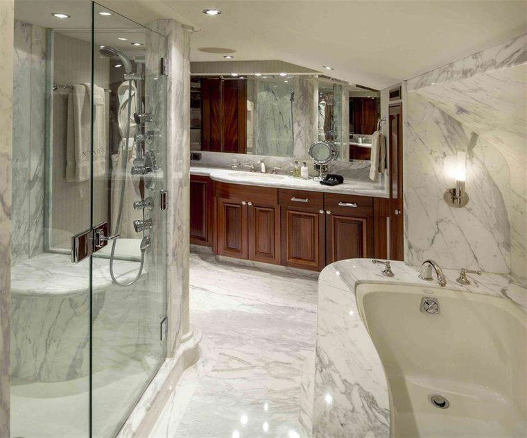 ANTARES Yacht Charter - Master Bath with shower and Jacuzzi tub
