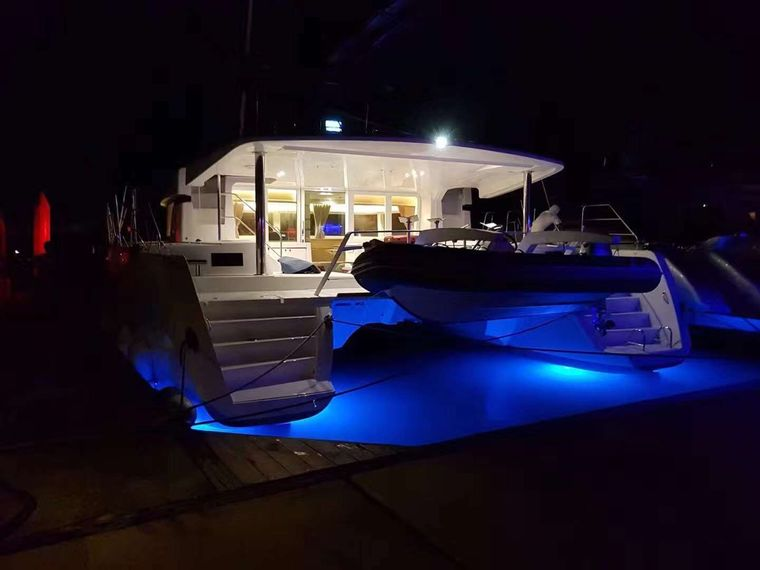 Blue Moon Yacht Charter - Sternview - Night Time