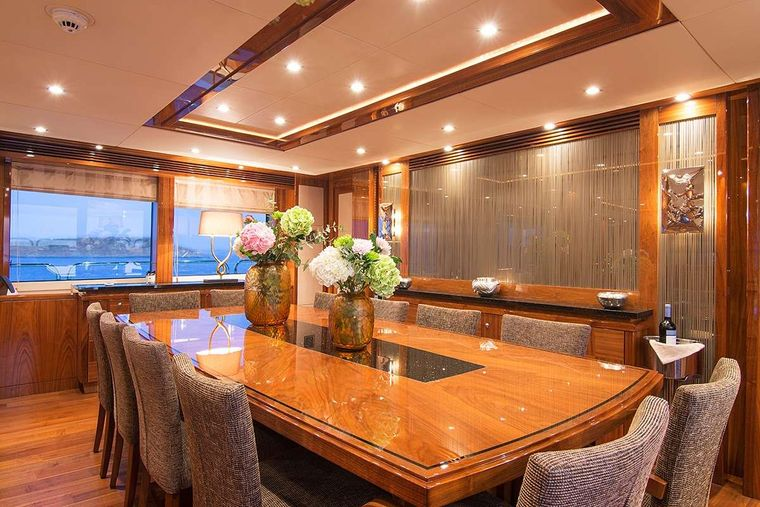 PATHOS Yacht Charter - Dining Table