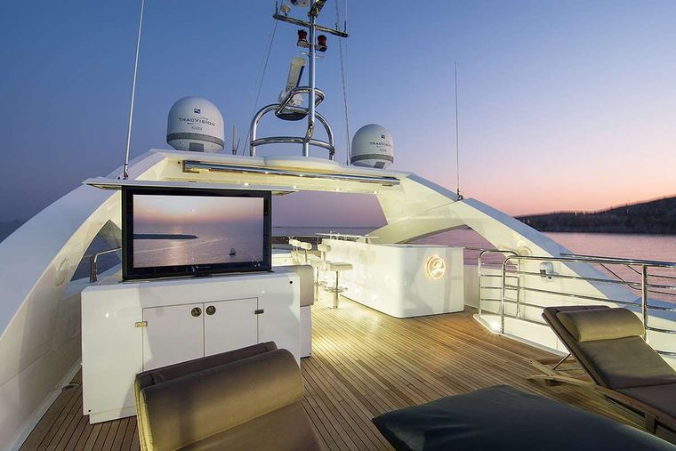 PATHOS Yacht Charter - Sun deck TV