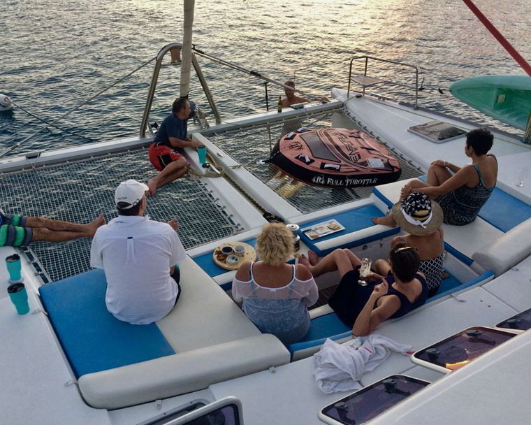 GAMBIT Yacht Charter - Foredeck lounging and conversation pit.  Large shade awning available for afternoon siesta