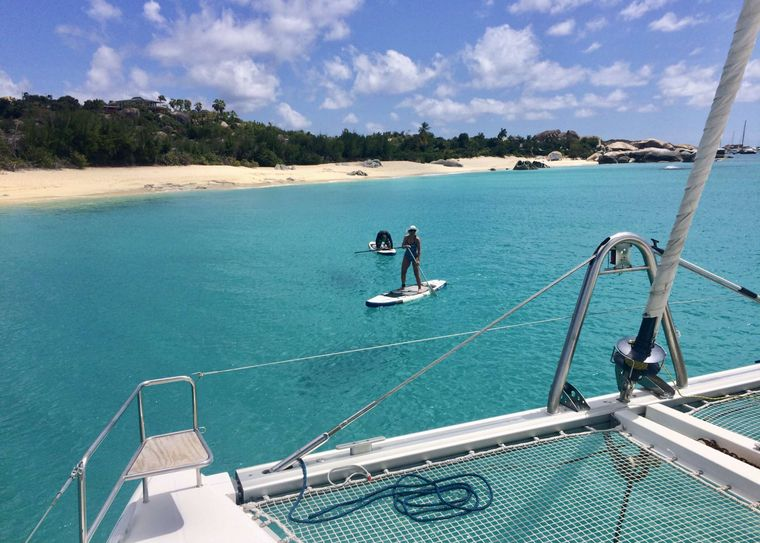 GAMBIT Yacht Charter - Trampoline and SUP's, beach and turquoise water