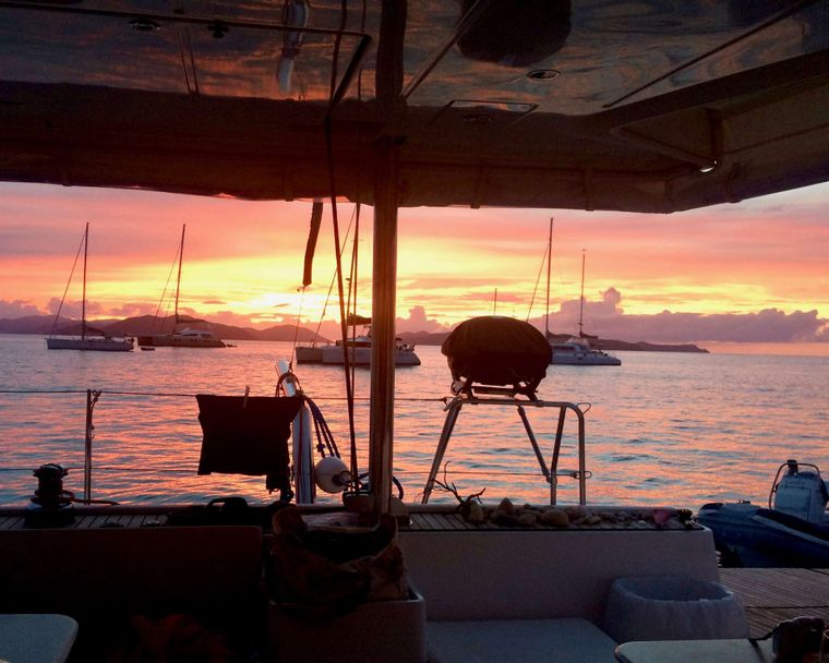 GAMBIT Yacht Charter - Sunset color wash, highlighting the barbecue!