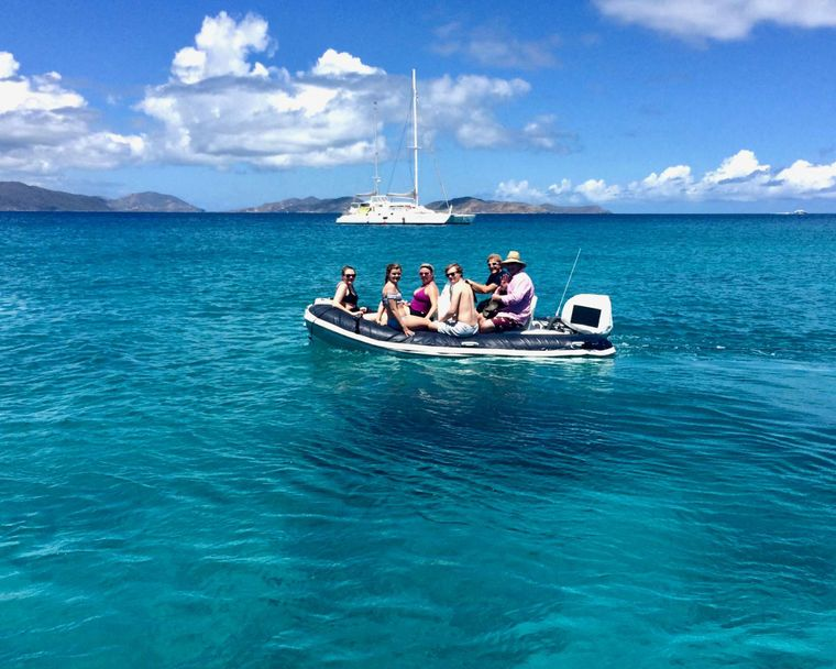 GAMBIT Yacht Charter - Great dinghy with 60hp motor to load up for snorkeling excursions, beach time or for fast speed watersports