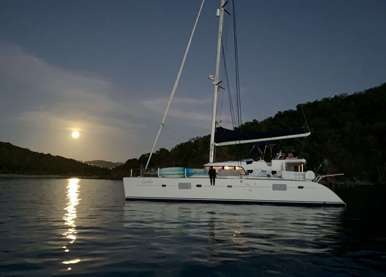 GAMBIT Yacht Charter - Evening and a full moon rising