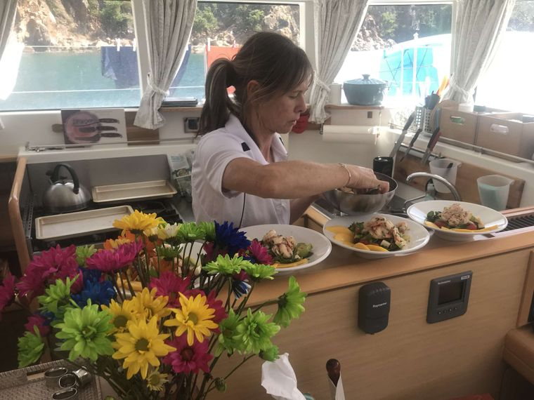 GAMBIT Yacht Charter - The Gambit galley with chef at work