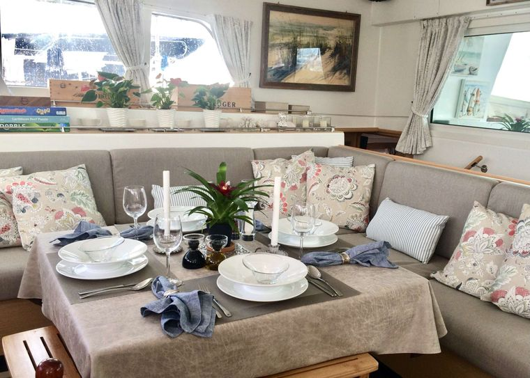 GAMBIT Yacht Charter - Gambit has a spacious, comfortable saloon, the perfect place to set up a game or puzzle, catch up on reading or work on your laptop should the office call.