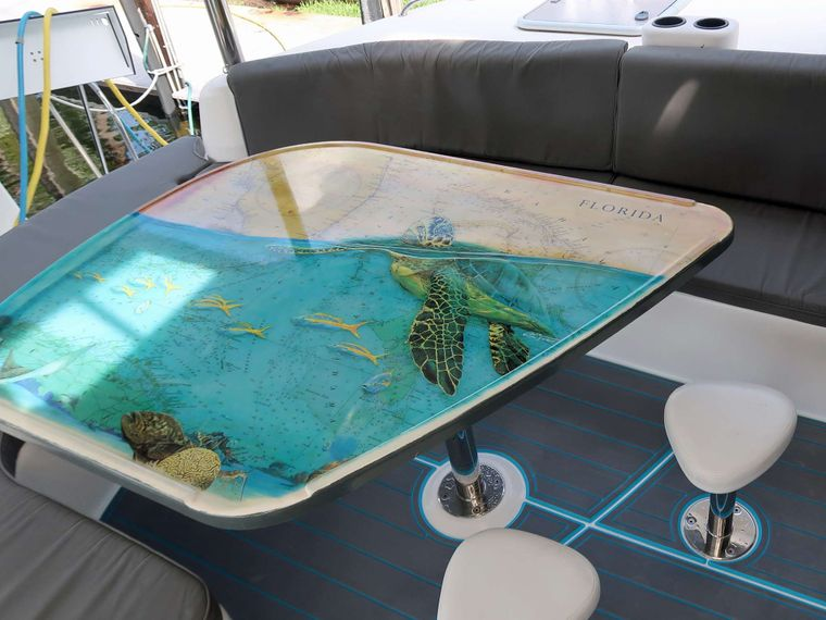 THE SPACE BETWEEN Yacht Charter - Beautiful cockpit table