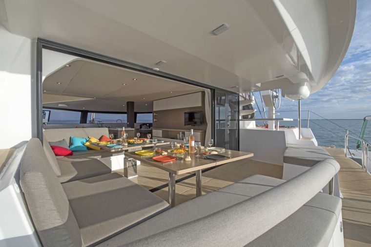 TRILOGY Yacht Charter - Saloon to Cockpit Dining Area
