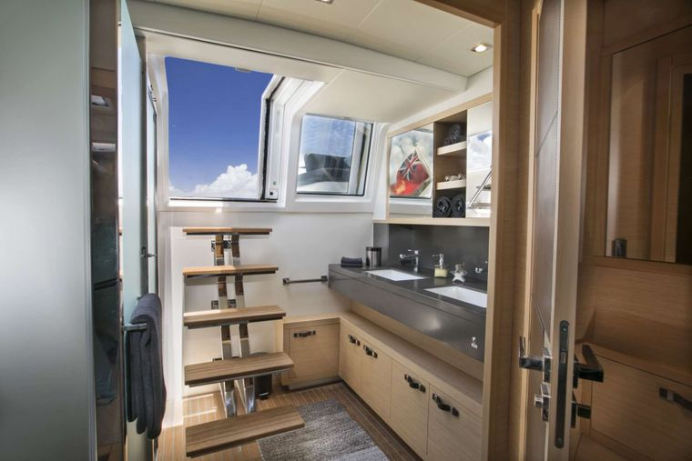 CALLISTA Yacht Charter - Master cabin with his & hers vanity sink area