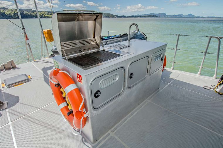 GREY WOLF Yacht Charter - Outdoor BBQ area