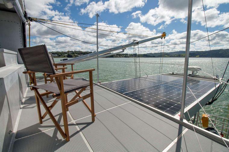 GREY WOLF Yacht Charter - Back Deck and Solar Panels