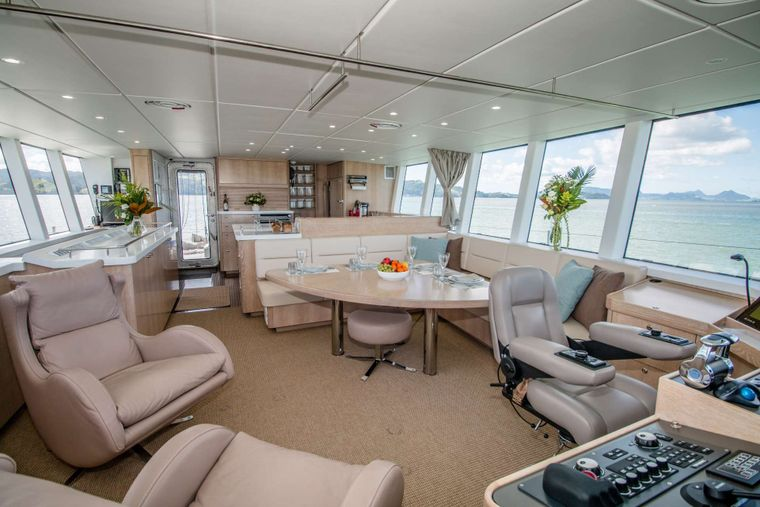 GREY WOLF Yacht Charter - Panoramic windows outfitted with privacy shades
