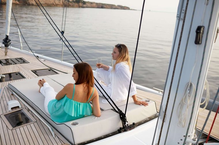 TAONA Yacht Charter - One of the 6 sun bathing areas