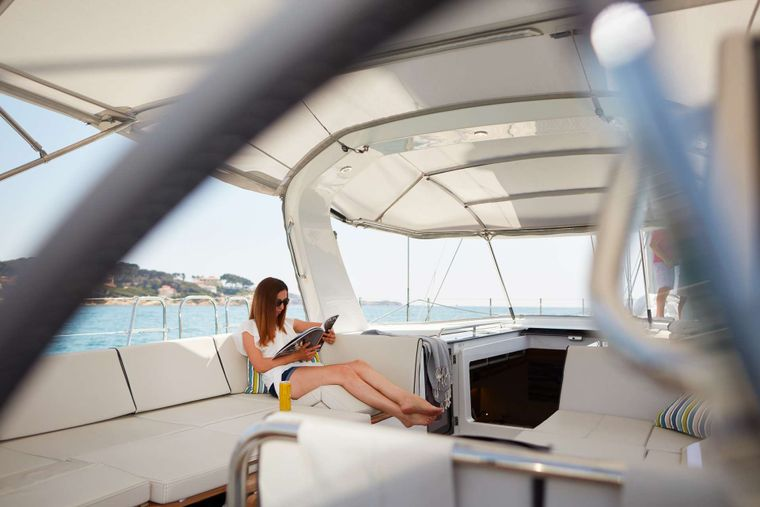 TAONA Yacht Charter - Cockpit with low table