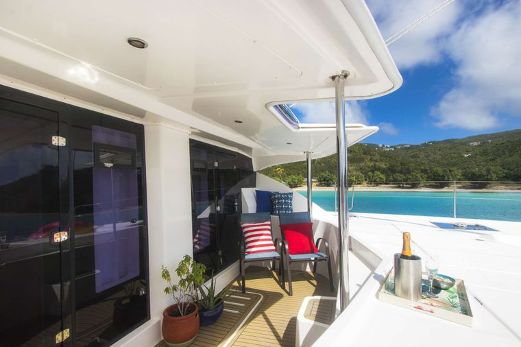 SEA ESTA Yacht Charter - Stateroom access to patio and forward deck.