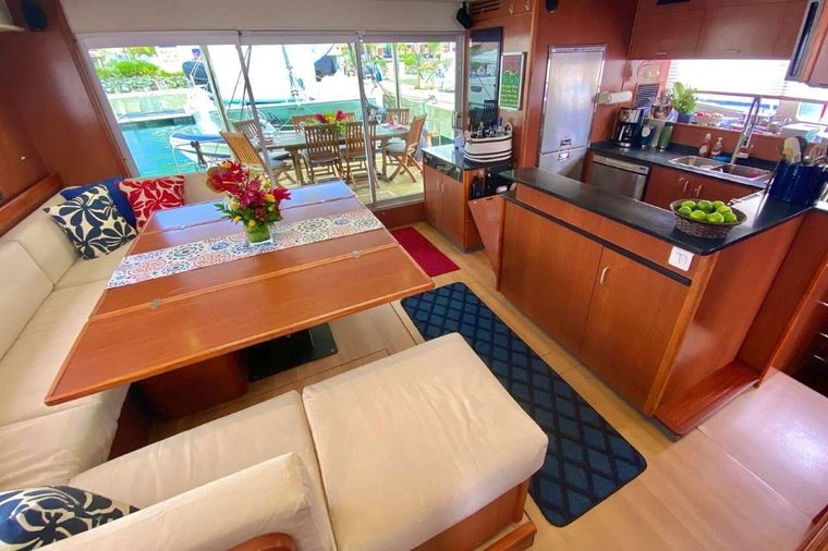 SEA ESTA Yacht Charter - The open aft dining deck is just outside the galley/salon space.