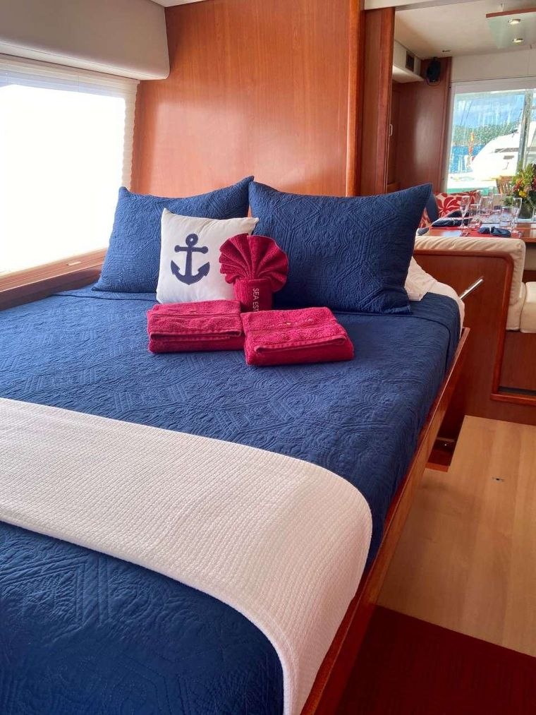 SEA ESTA Yacht Charter - One of two main deck staterooms, with direct access to forward patio