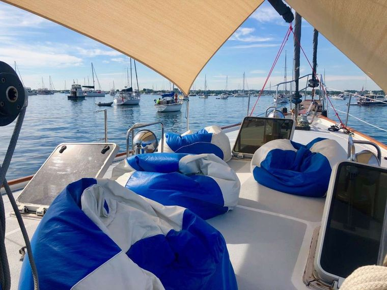 KAI Yacht Charter - Sun shade and bean bags for relaxing
