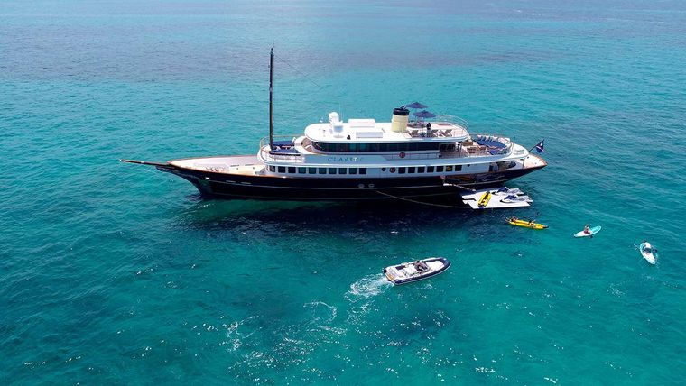 CLARITY Yacht Charter - At Anchor with Water Toys