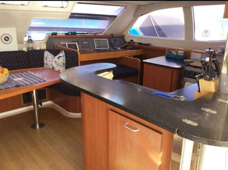 DESTINY III Yacht Charter - Galley and Nav Table