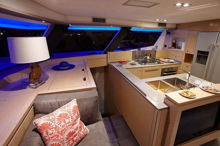 ENCHANTE Yacht Charter - Kitchen and stairs to bow cabin
