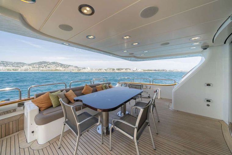 Quid Pro Quo Yacht Charter - Aft Deck Dining