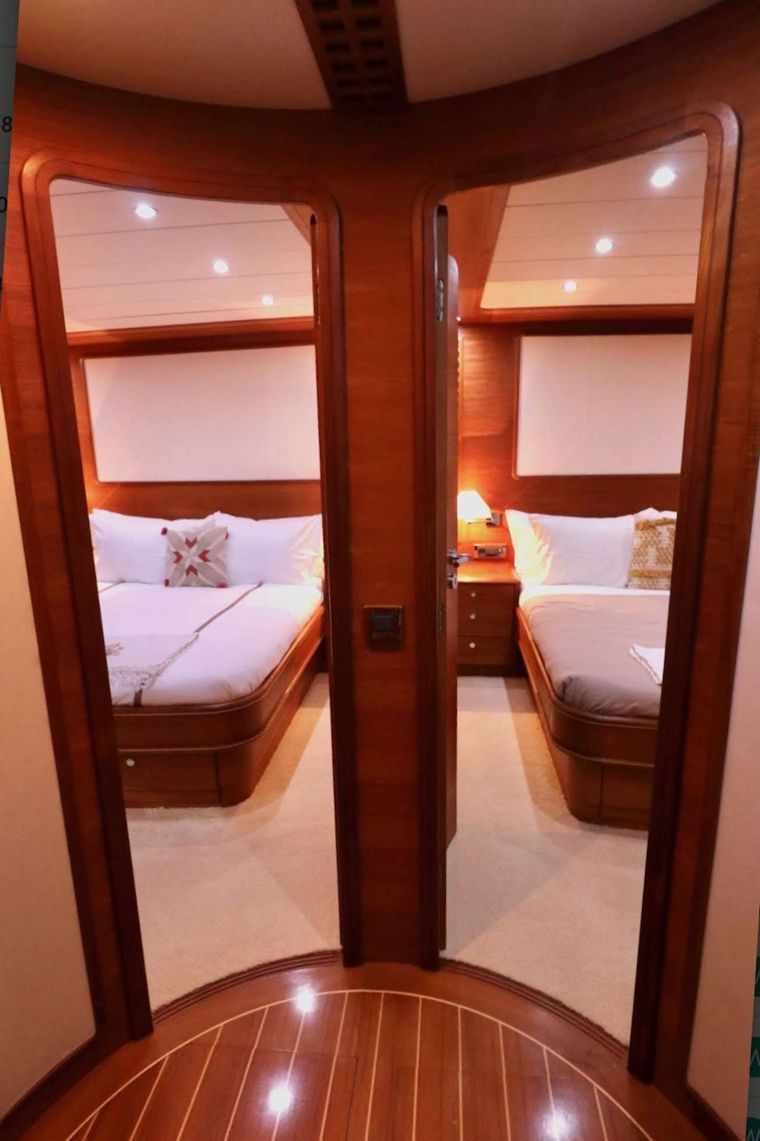 ECLIPSE 114 Yacht Charter - Looking into 2 of the queen guest cabins