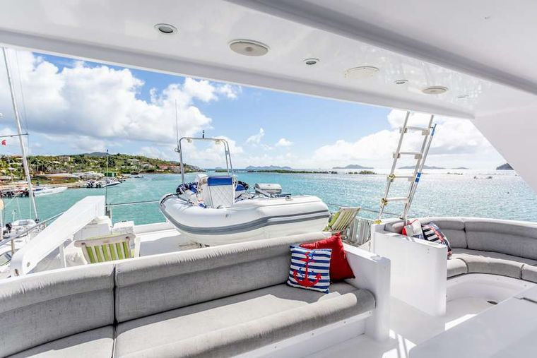 PRIME TIME Yacht Charter - Sundeck with the tender