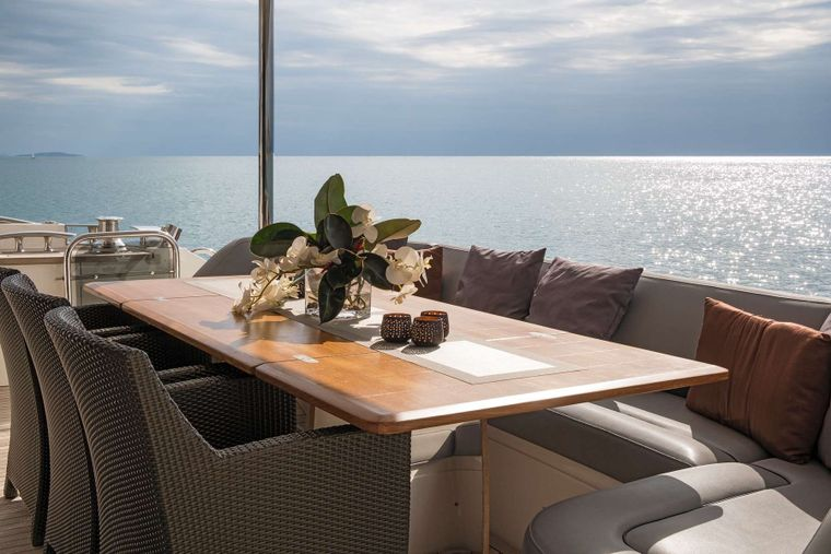 4LIFE Yacht Charter - Aft Deck Dining Table