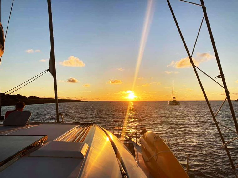 ILLUSION Yacht Charter - Sunset from the Bow
