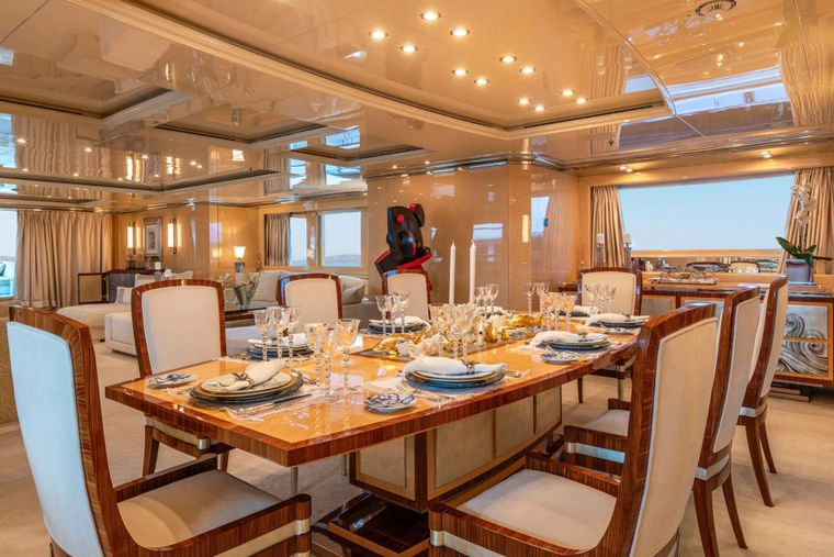 SUNDAY Yacht Charter - Main Deck Dining